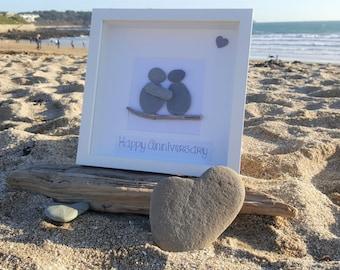 Happy Anniversary - Cornish Pebble Art Picture
