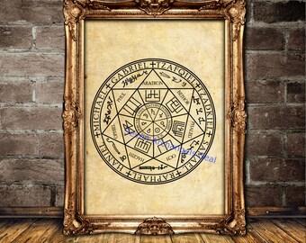 Seven Archangels seal poster, Archangel print, Magic art, Occult wallart, Samael, Raphael, Haniel, Michael, Gabriel, Tzafqiel, Tzadkiel #467