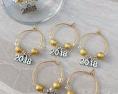 Items similar to New Years Eve wine glass charms, hostess ...