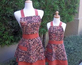 Mother Daughter Apron Set Handmade Retro Style Apron Brown Thanksgiving Theme