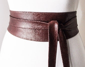 Brown Stingray effect Obi Belt |Leather Stingray finish  | Leather corset belt | Real Leather Belt| waist  Obi Belt | Petite to Plus Size