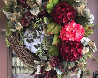 Summer Wreath, Spring Wreath, Hydrangea Wreath, Grapevine Wreath, Front Door Wreath