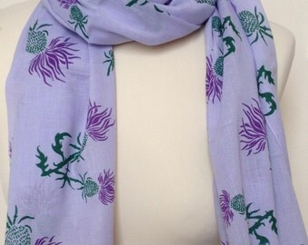 Women's purple thistle scarf - purple thistle shawl - purple thistles on purple heather background scarf - in 100% cotton