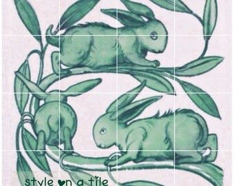 "Arts and Crafts William De Morgan Green Rabbits Hares Bunnies 432mm x 432mm 17"" x 17"" square ceramic tile mural mosaic wall art splash back"