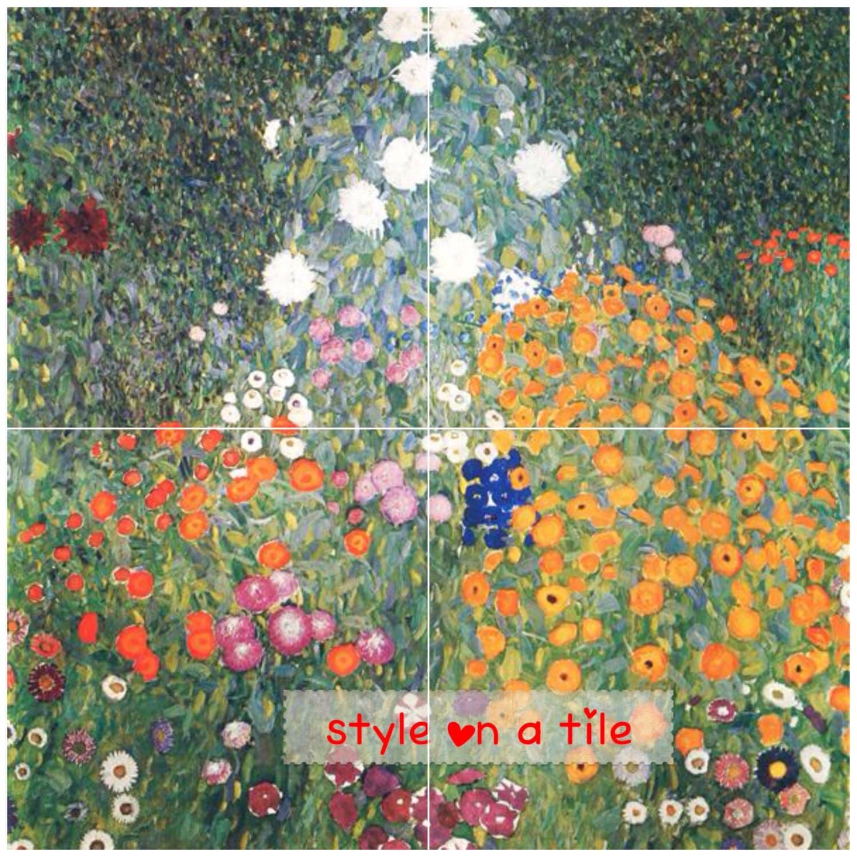 Lovely gustav klimt daisy petunia poppy aster garden flower garden lovely gustav klimt daisy petunia poppy aster garden flower garden 4 x 6 or 152mm ceramic tile mural mosaic wall art splash back dailygadgetfo Gallery