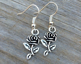 Rose Charm Earrings, Valentines Earrings, Charm Earrings, Bridal Jewelry, Bridesmaid Earrings, Mother of the Bride, Mother of the Groom gift