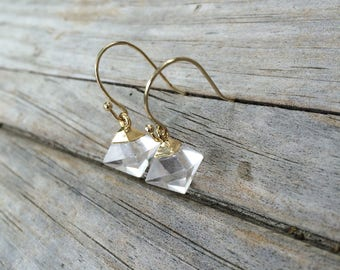 Clear Quartz Earrings, Natural Stone earrings, Drop Earrings, Geometric earrings, Gold Earrings, Gifts for her