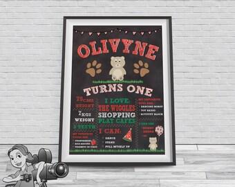 Teddy Bear Picnic Chalkboard Milestone Poster