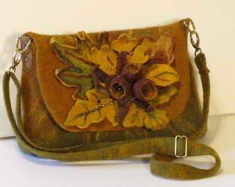 """Felted crosbody purse, Felted perse """"Autumn"""", wool purse with extendable strap"""