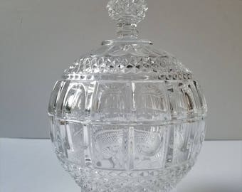 Large and Heavy Cut Glass or Crystal Lidded Candy Dish with Finial