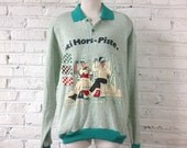 80s Vintage Skiing Sweater / French Alps France Courchevel Ski Resort / Teal Mint Green Collar Pullover Sweatshirt / Mens Large Womens XL