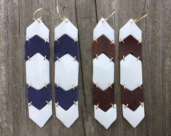 REFINED RUSTIC porcelain and leather tiered earrings
