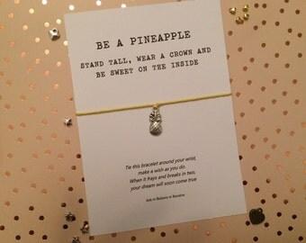 Pineapple Wish bracelet, Pineapple string bracelet, Pineapple charm bracelet, Be a Pineapple, Pineapple gift, pocket money gift
