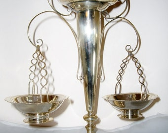Chinese Export Silver Epergne with Baskets Wang Hing, Antique
