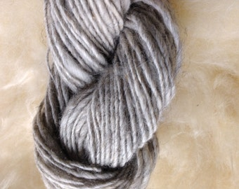 "Unique Handspun Lopi-Style Gray Art yarn - ""Winter Creek"""