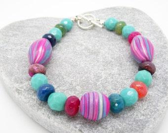 Agate Bracelet, Polymer Clay Bracelet, Czech Glass Bracelet, Turquoise Bracelet, Cerise Bracelet, Fuchsia Bracelet, Pink Bracelet,