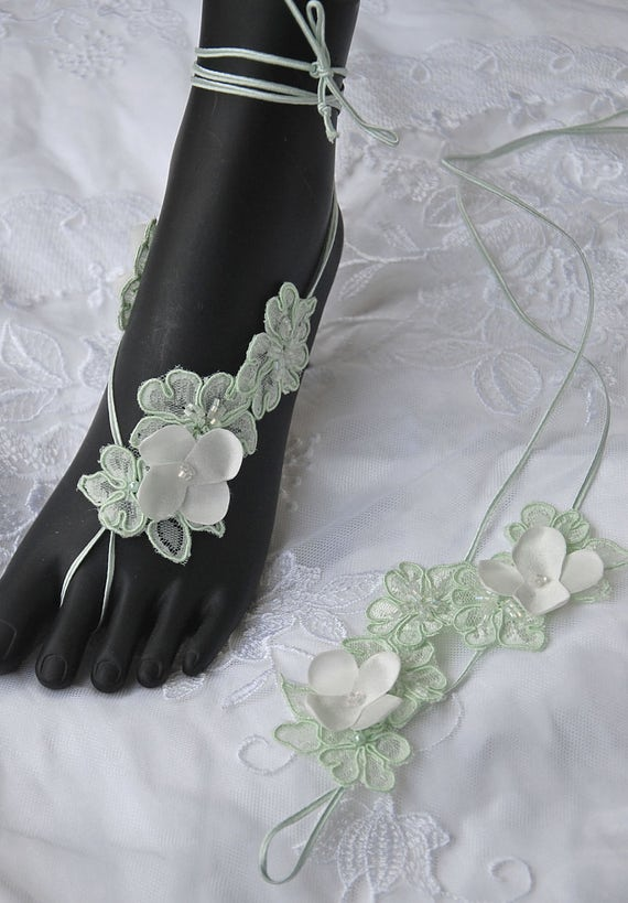 Mint lace-up barefoot sandals for beach wedding;beach wedding barefoot sandals;lace-up barefoot sandals
