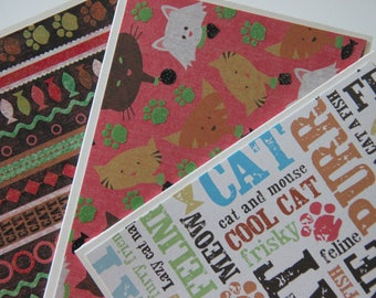 9 Cat Note Cards.  Assorted Cat Cards.  Blank Cat Card Set.  Pet Stationery.  Cat Stationery.  Paw Prints Note Cards.  Cat Thank You Cards