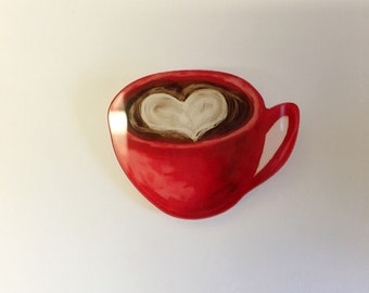 Sweet red mug cup cappucino coffee hot drink food deco kitsch brooch