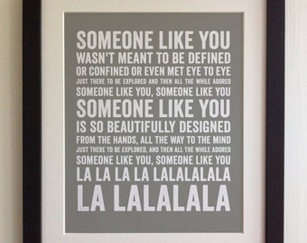 FRAMED Lyrics Print - Paolo Nutini, Someone Like You - 20 Colours options, Black/White Frame, Wedding, Anniversary, Valentine's, Fab Picture