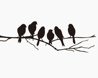 Wallsticker, birds on branch