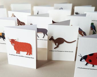 Animal Cards, Greeting Cards, Animal Note Cards, ABC Cards, ABC Alphabet, Thank You Cards, Stationery Set, Wildlife Cards, Animal Alphabet