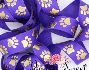 "7/8"" Tiger Paws Gold Foil Dots Grosgrain Ribbon - 1yd"