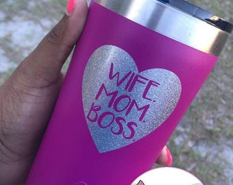 Wife, Mom, Boss Heart Glitter Decal, Tumbler Decal, Yeti Decal, Laptop Decal, Decal