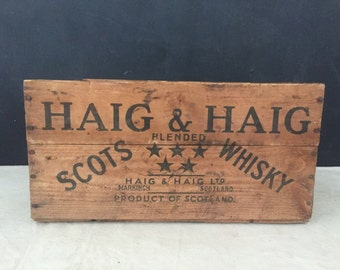 Whiskey Crate - Vintage Haig & Haig Blended Scotch Whisky Wood Crate - Whiskey Box - Man Cave - Bar Decor - Scotland - Restaurant