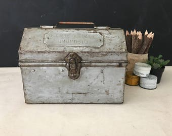Railroad Lunch Box - Vintage Metal Lunch Box with Metal Handles - Lunchbox - Edmundston - Canada - Industrial Decor - Prop - Tin
