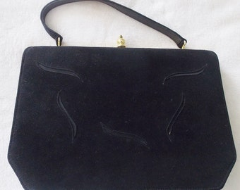Now Only 5 Dollars! Vintage Signed Melbourne Bags Black Faux Suede Top Handle Purse Handbag