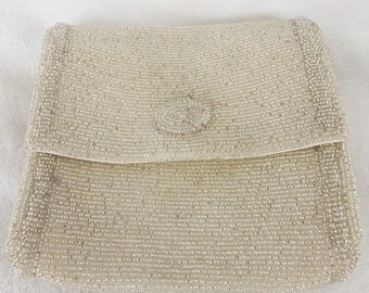 Now 25% Off! Vintage Mid 20th C. Silver Beaded Evening  Clutch Handbag Prom Season is Coming!
