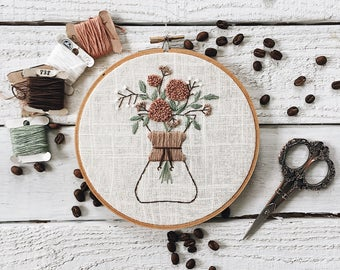 Spring Floral Chemex Embroidery // Coffee Brewing Embroidery Series // Coffee Embroidery // Floral Embroidery // Embroidery Design //