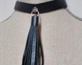 Leather Tassel Choker, Black Choker Tassel Necklace, Choker Tassel Necklace, Leather Choker, Leather Tassel Choker, BDSM Choker
