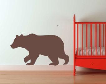 "Large Woodland BEAR Decal Forest Critters Bear Vinyl Wall Decal Kids Teen and Nursery Wall Decor Bear DECAL (21""Hx38""W)"