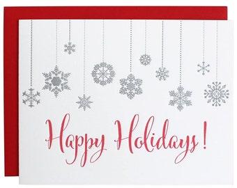 Happy Holidays Snowflake Letterpress Card