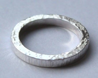 Handmade Sterling Silver Square Wire Textured Ring (size M)