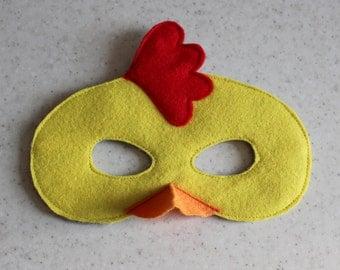 Chicken felt mask - Kids dress up mask - Children animal mask - Party favor - Birthday party costume - Pretend play