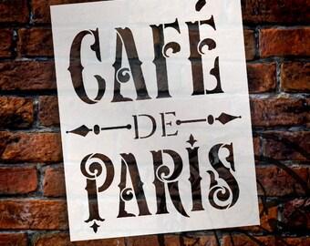 Cafe de Paris Word Art Stencil - Victorian Vintage - Select Size - STCL910 by StudioR12