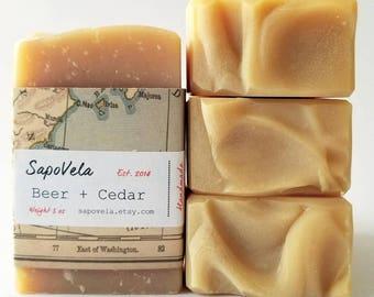 5oz Beer & Cedar Soap, Vegan Soap , Palm Oil Free Soap,  Handmade Gift