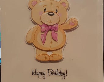 Decoupage Greeting Card - Happy Birthday Bear