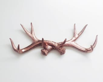 ANY COLOR Faux Deer Antlers // Rose Gold // Wall Mount // Antler Jewelry Holder // Faux Taxidermied // Rustic Home Decor // Antler Wall Hook
