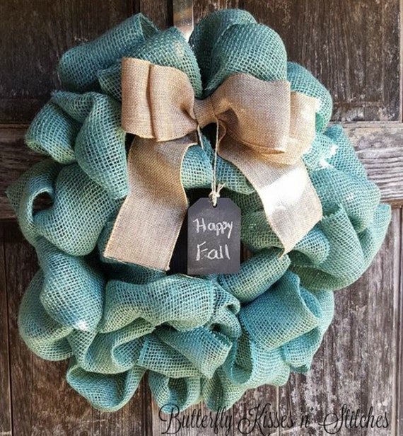 Indoor or Outdoor Burlap Wreath/Front Door Wreath/Autumn Wreath/ Burlap Wreath/Fall Decor/Greeting Chalkboard Accent