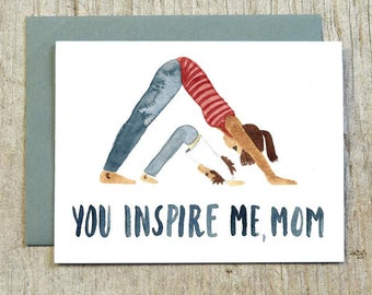 You Inspire Me Mom, Yoga Mother's Day Watercolor Card by Little Truths Studio