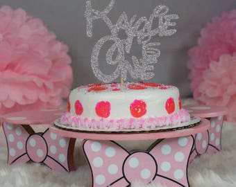 Pink Minnie mouse Birthday Cake Stand, Cake display stand, Minnie mouse party, Mickey decorations, Birthday Centerpiece