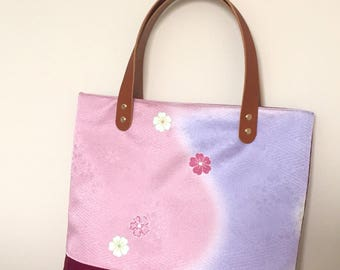 Japanese Silk/ Canvas Tote Bag (Pastel Blossoms)