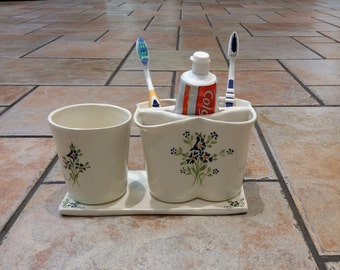 White ceramic toothbrush holder,  water cup and a rectangular saucer set. Toothpaste holder, Bathroom accessories, bathroom set, blue flower