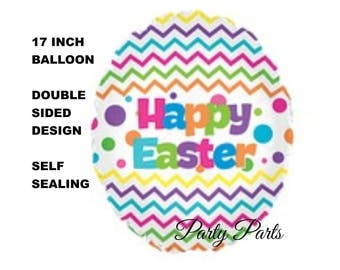 Easter egg balloon, Happy Easter, chevrons, colored egg, decorated, spring holidays, party decorations, bright colors, polka dots