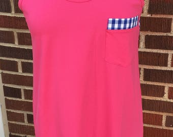 Monogrammed Pink Dress or Cover-Up with Blue Gingham Racerback