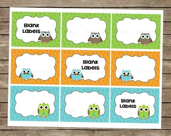 Owls Blank Labels ~ Gift Tags ~ Instant Download ~ Party Supplies ~ Labels ~ Thank you Tag ~ Printable Party Decor ~ Birthday Tags